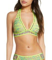 women's becca reveal halter bikini top, size small - green