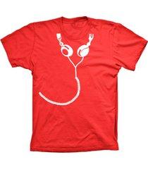 camiseta baby look lu geek fone de ouvido vermelho - vermelho - feminino - dafiti