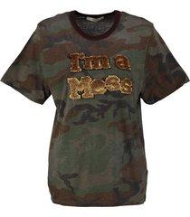 replay stevig zacht t-shirt army - dames