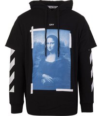 off-white black man hoodie with monalisa t-shirt