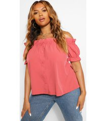 plus off shoulder ruffle bardot top, terracotta