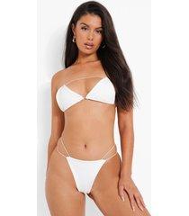 geribbelde driehoekige mini bikini top met uitsnijding en textuur, white