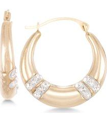 crystal embellished hoop earrings in 10k gold