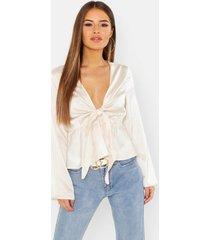 petite knot front plunge blouse, ecru