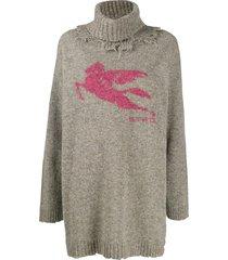 etro distressed turtleneck sweater - grey