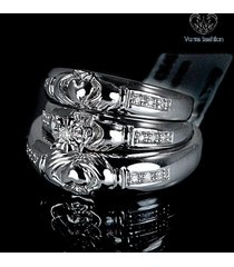 bride & groom trio ring set wedding band round cut cz 14k white gold 925 silver