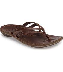 olukai 'u'i' thong sandal, size 5 in dark java leather at nordstrom