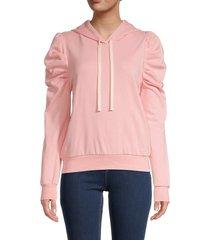 lea & viola women's puff-sleeve hoodie - pink - size m
