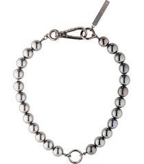 marine serre silver tone hybrid organic bead choker necklace