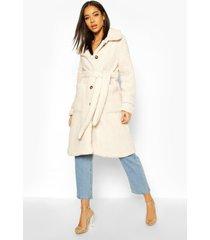 longline teddy belted coat, cream
