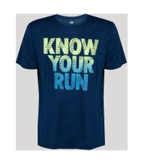 camiseta masculina esportiva ace know your run manga curta gola careca azul marinho