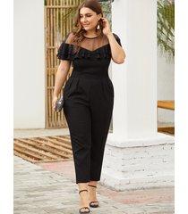 plus size black mesh insert ruffle trim jumpsuit