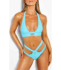 gem halterneck strappy triangle bikini, blue