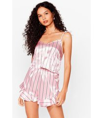 womens hold it stripe there cami and shorts pajama set - pink