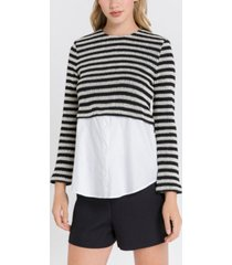 english factory striped poplin combo top