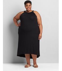 lane bryant women's halter high-low maxi dress 34/36 black