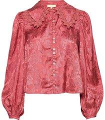 jacquard lace shirt blouse lange mouwen roze by ti mo