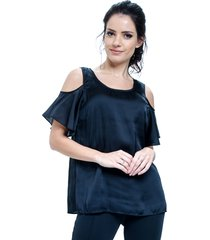 blusa 101 resort wear tunica cetim amarraçao preto
