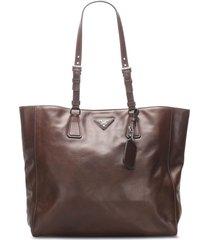 prada pre-owned triangle plaque tote bag - brown