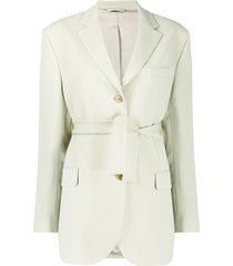 acne studios belted single-breasted blazer - green