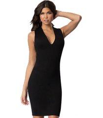 vestido racy modas curto tubinho com costas cruzadas e fenda preto