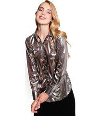 camisa metalizada aron silver eclipse