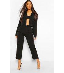 getailleerde broek met rechte pijpen en geplooide details, zwart