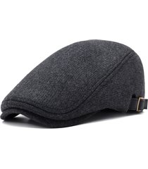 uomo casual berretto invernale pesante di lana comoda regolabile in colore a tinta unita con visiera