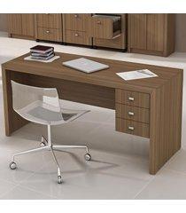 mesa para escritório 3 gavetas amendoa me4113  - tecno mobili