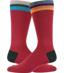 paul smith men's striped crew socks - red