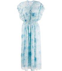 iro ruffle gathered-waist dress - blue