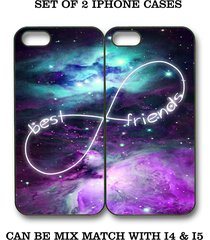 custom nebula galaxy mint purple bff best friends iphone case - 2 iphone 4 cases