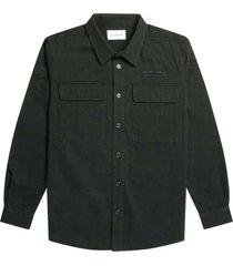 woodbird hoxen work shirt dark green 2136-700