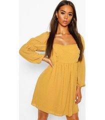 dobby chiffon square neck dress, mustard