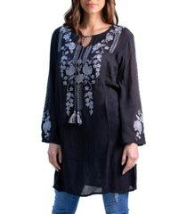 women's elegant knee length embroidered peasant top