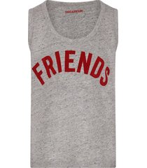 zadig & voltaire grey girl tank top with red writing