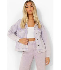 oversized pastel wash spijkerjas, lilac