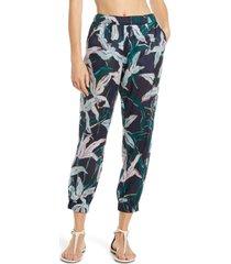 women's tory burch floral print crop cotton pants, size small - blue