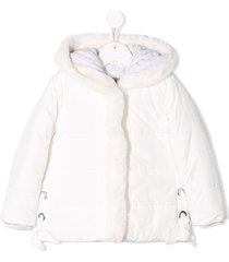 lapin house fur hooded jacket - white