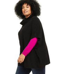 charter club plus size cashmere cowlneck poncho, created for macy's