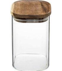 pojemnik kuchenny szklany z drewnianą pokrywą 1l