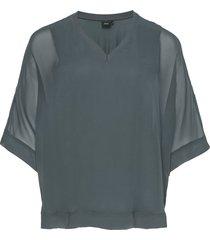 blouse plus 3/4 lenght sleeves v neck blus långärmad grön zizzi