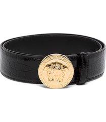 versace embellished croc-effect patent-leather belt - black