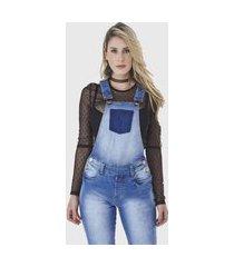 macacão jardineira hno jeans premium longo azul