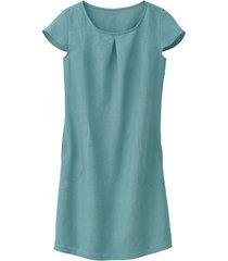 linnen jurk met korte mouw met geplooid rugpand, waterblauw 38