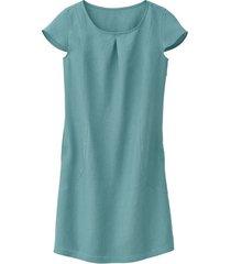 linnen jurk met korte mouw met geplooid rugpand, waterblauw 34