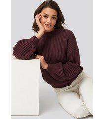 na-kd balloon sleeve knitted sweater - burgundy