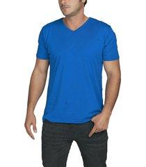 camiseta azul luck & load cuello v manga corta