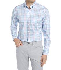 men's peter millar vance regular fit check button-down shirt, size small - blue/green