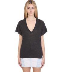 iro heloise t-shirt in black linen